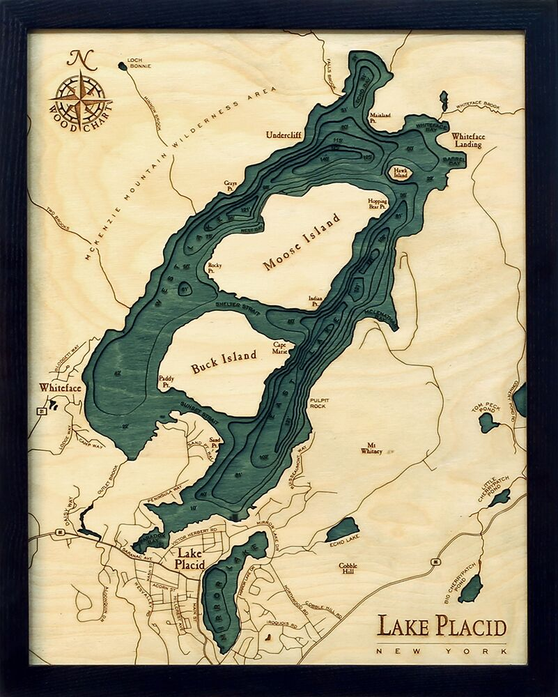 Bathymetric Map Lake Placid, New York