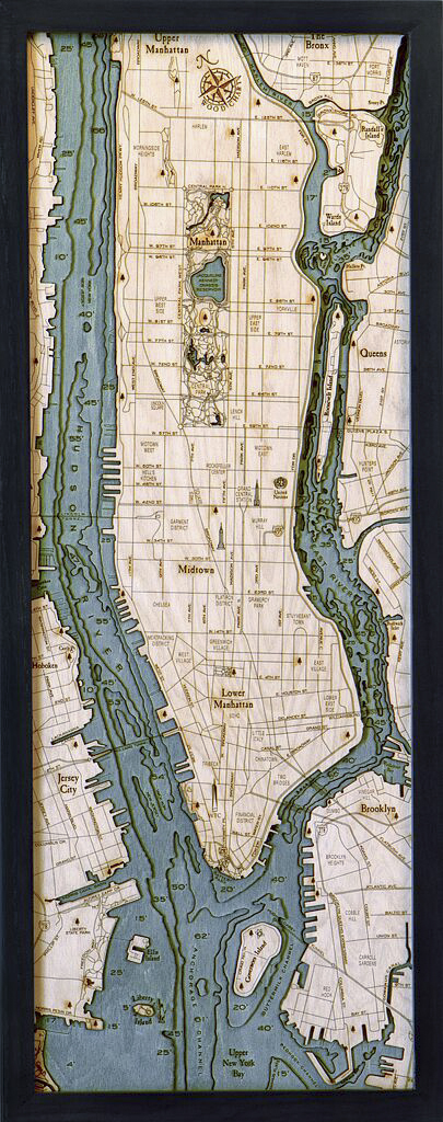 Bathymetric Map Manhattan & Long Island, New York