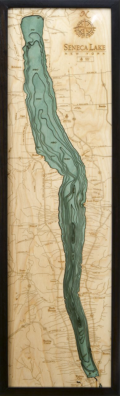 Bathymetric Map Seneca Lake, New York