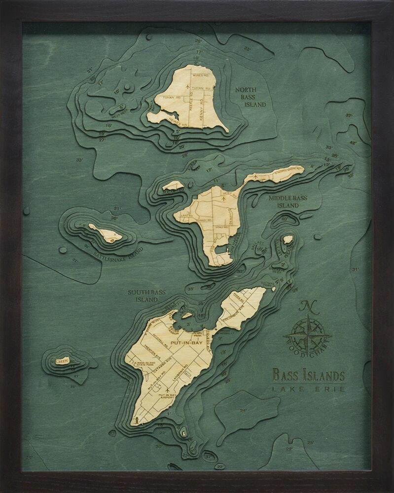 Bathymetric Map Bass Islands and Put-in-Bay, Ohio