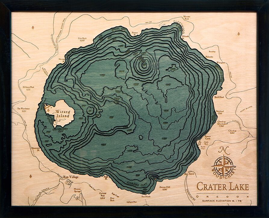 Bathymetric Map Crater Lake, Oregon