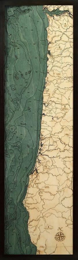 Bathymetric Map Oregon Coast, Oregon
