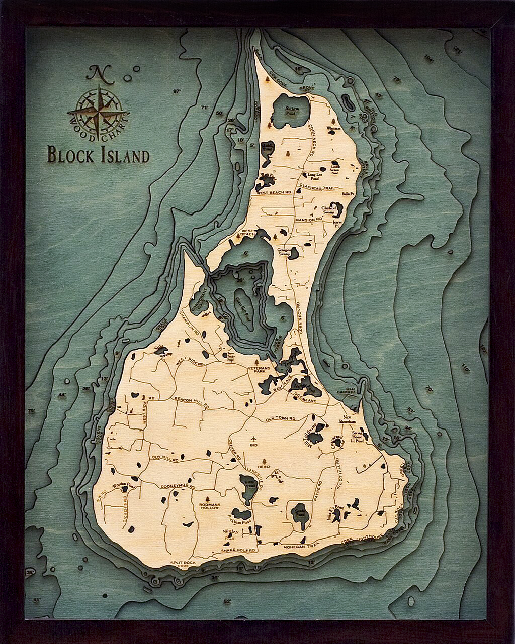 Bathymetric Map Block Island, Rhode Island