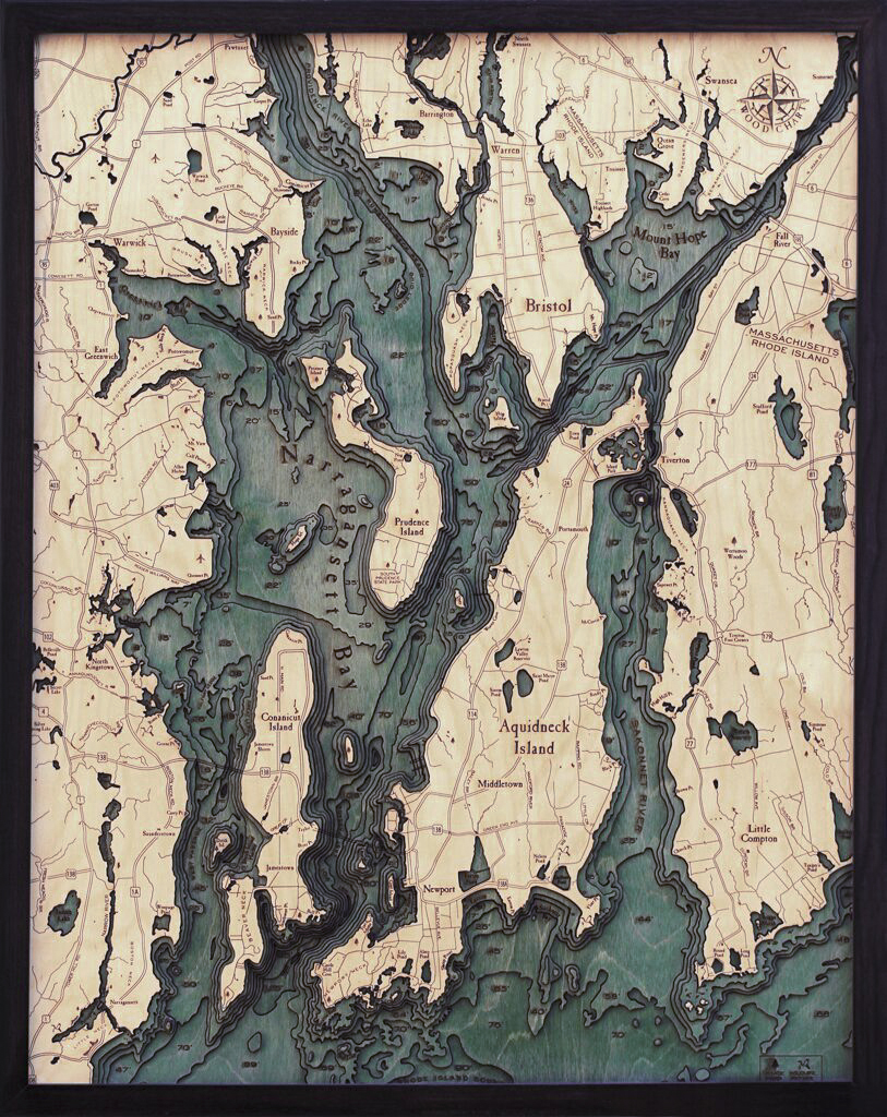 Bathymetric Map Narragansett Bay, Rhode Island