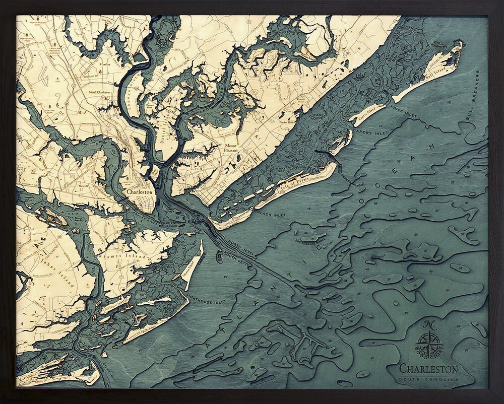 Bathymetric Map Charleston, South Carolina