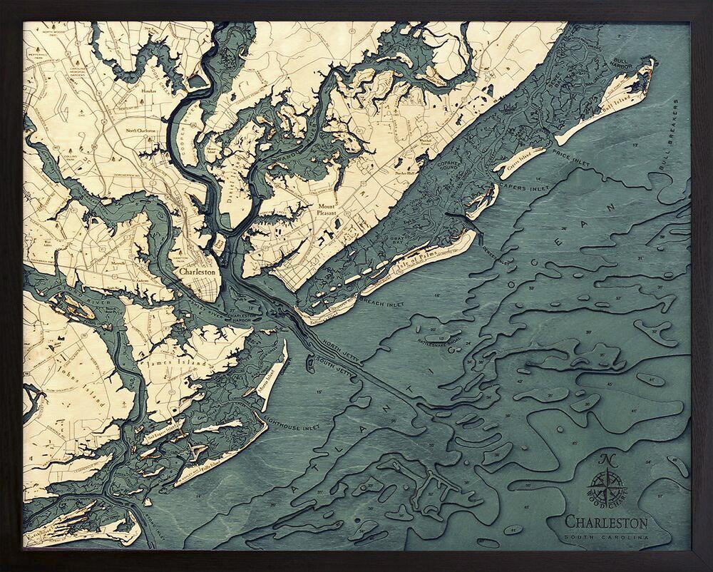 Bathymetric Map Charleston, South Carolina