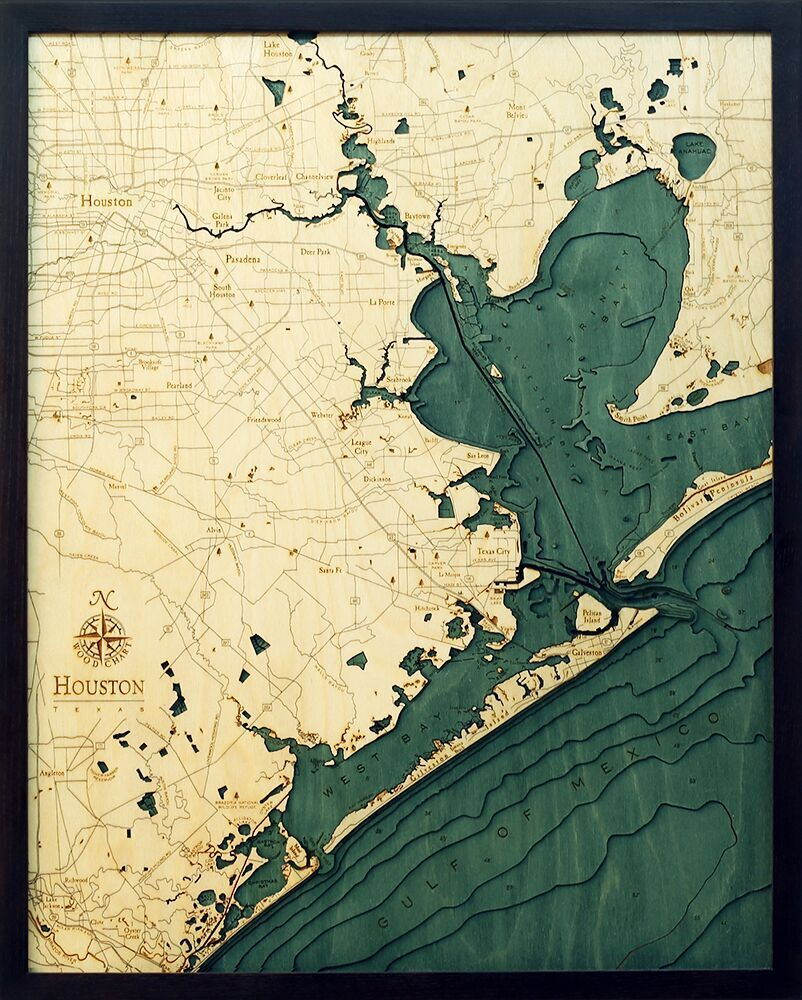 Bathymetric Map Houston, Texas