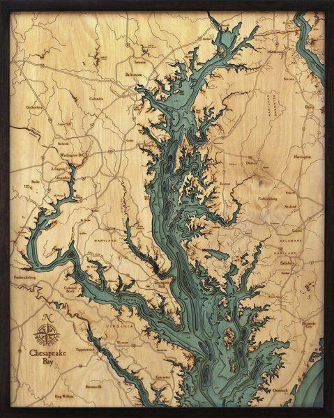 Bathymetric Map Chesapeake Bay