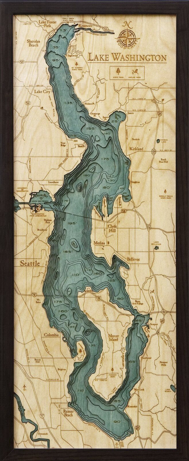 Bathymetric Map Lake Washington, Washington
