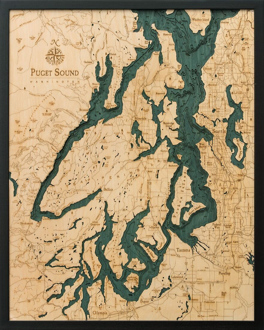 Bathymetric Map Puget Sound, Washington