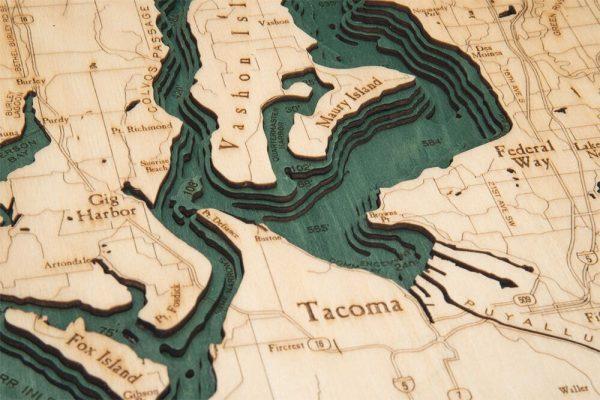 Bathymetric Map Puget Sound, Washington