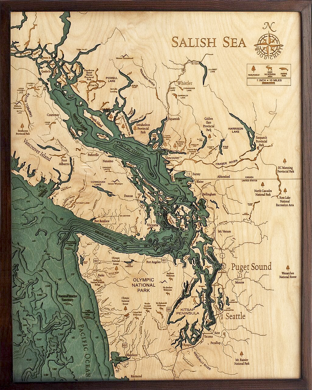 Bathymetric Map Salish Sea, Washington