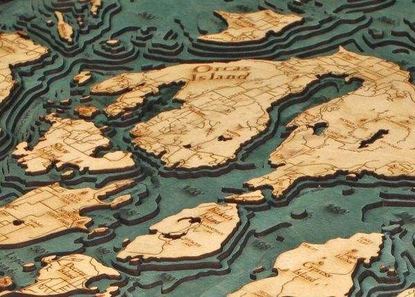 Bathymetric Map San Juan Islands, Washington