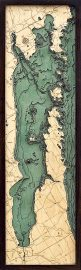 Bathymetric Map Green Bay, Wisconsin Peninsula