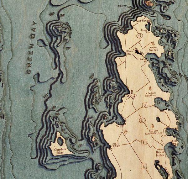 Bathymetric Map Green Bay, Wisconsin Peninsula