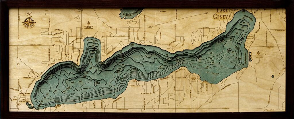 Bathymetric Map Lake Geneva, Wisconsin