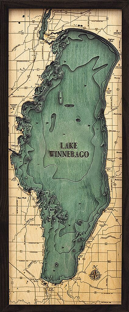 Bathymetric Map Lake Winnebago, Wisconsin