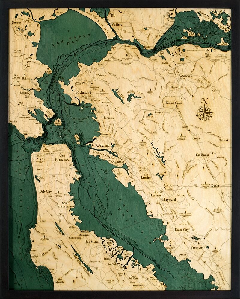 Bathymetric Map San Francisco Bay Area California Scrimshaw Gallery