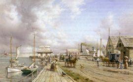 Dusan Kadlec Limited Edition Print - Steamboat Wharf, Nantucket, ca. 1900