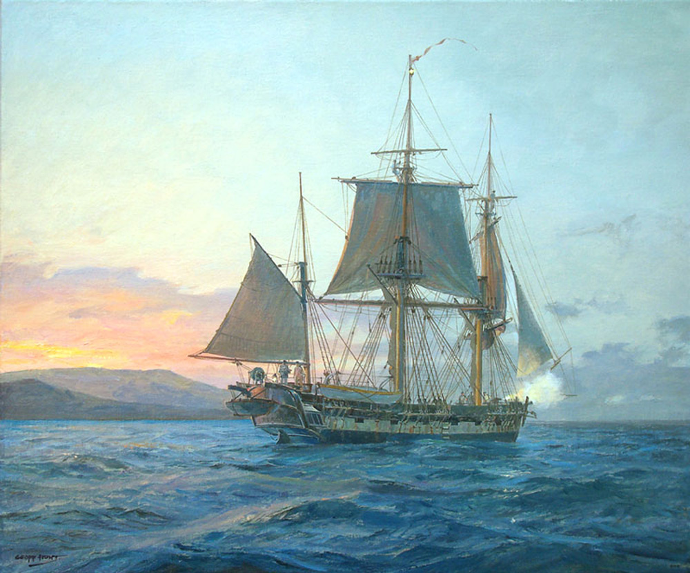 Geoff Hunt - H.M.S. Beagle off the Galapagos