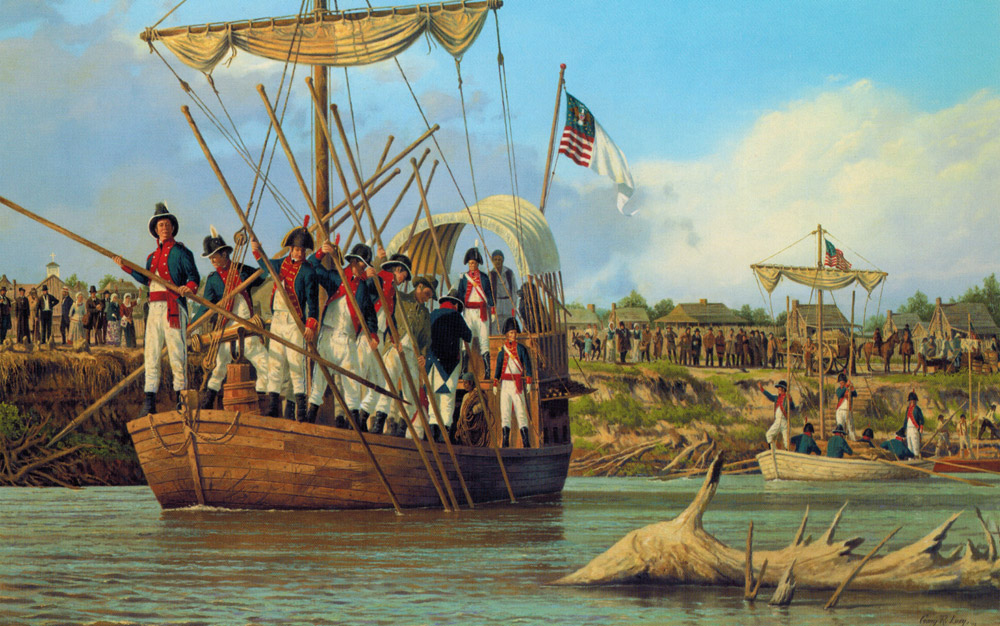 Gary Lucy Limited Edition Print - Lewis and Clark - The Departure from St. Charles, May 21, 1804