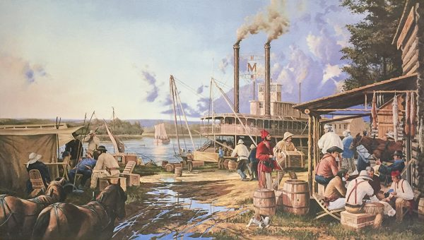 Gary Lucy Limited Edition Print - Miller's Landing - Westward Travelers at Miller's Landing, 1843