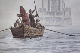 Gary Lucy Limited Edition Print - The Boatmen - A Foggy Morning Encounter