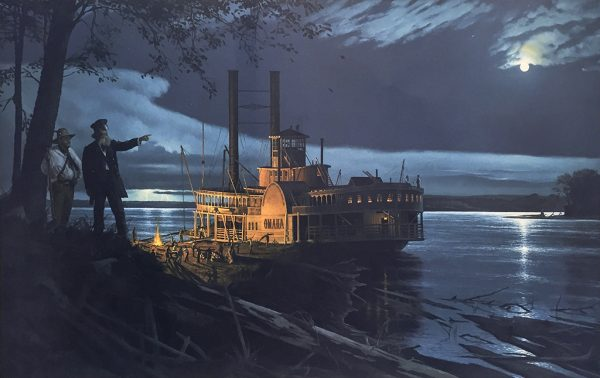 Gary Lucy Limited Edition Print - The Omaha - Cutting Firewood By Moonlight