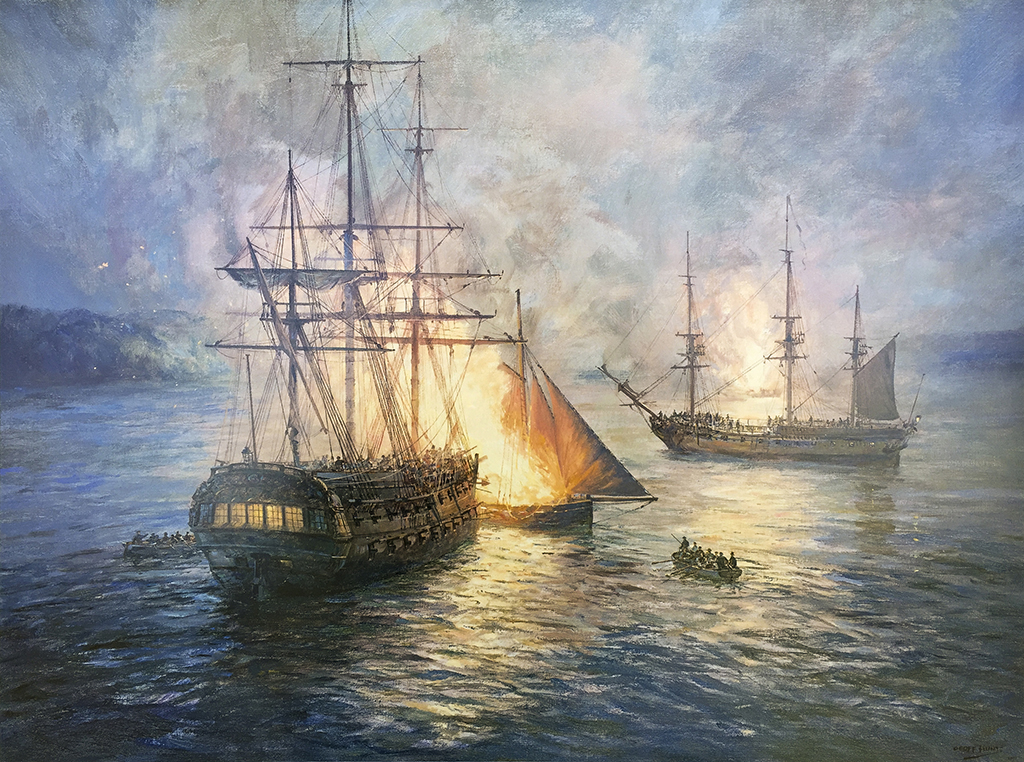 Geoff Hunt Print - Fireships on the Hudson River