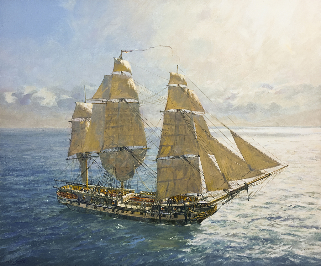 Flying Kites – H.M.S. Surprise under Royals and Stunsails