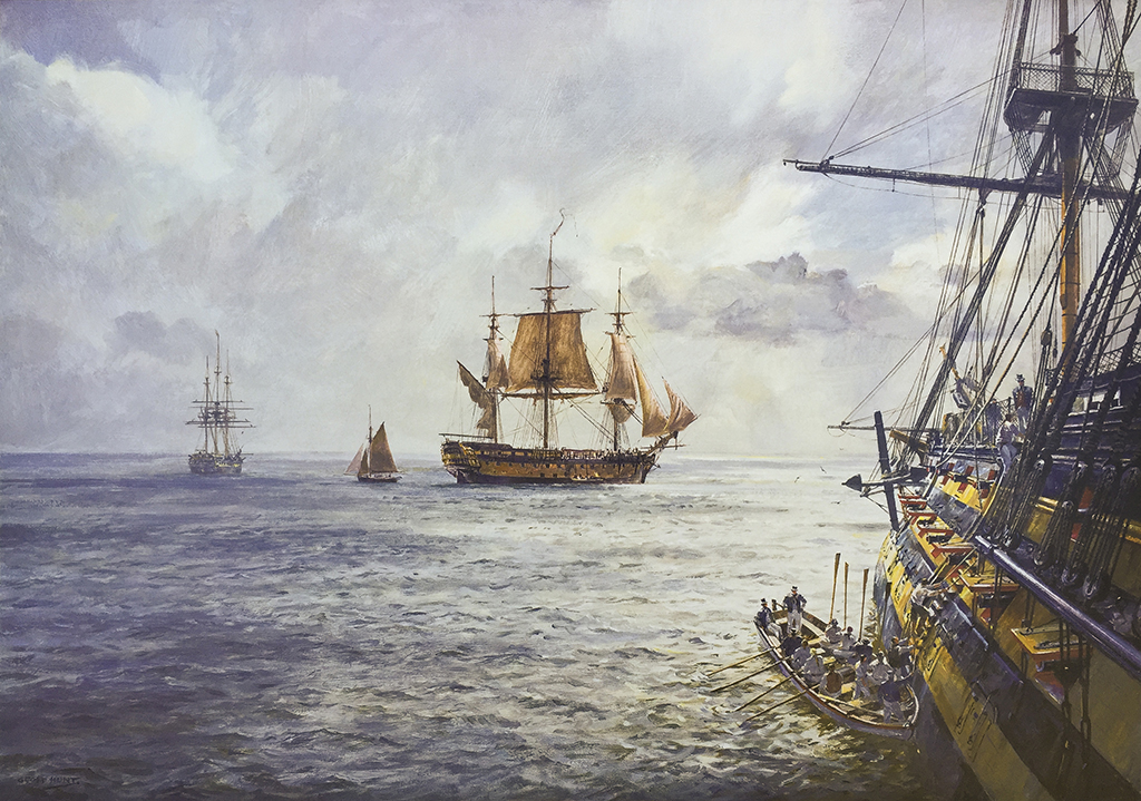 Geoff Hunt Print - H.M.S. Duke William Coming Aboard