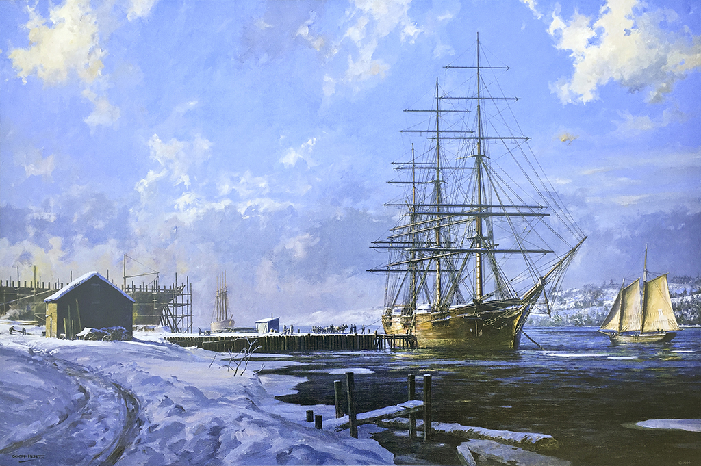 Geoff Hunt Print - Geoff Hunt - Shipbuilding Along The Kennebec River