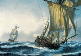 William Gilkerson Limited Edition Print - Sloop Providence Being Pursued By H.M.S. Soleby
