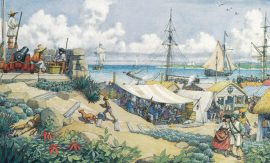 William Gilkerson Limited Edition Print - Nassau Town, Bahamas, the Pirates' Nest in 1717