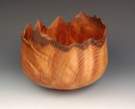 Jerry Kermode Wooden Bowl - Redwood Natural Edge Calabash Bowl
