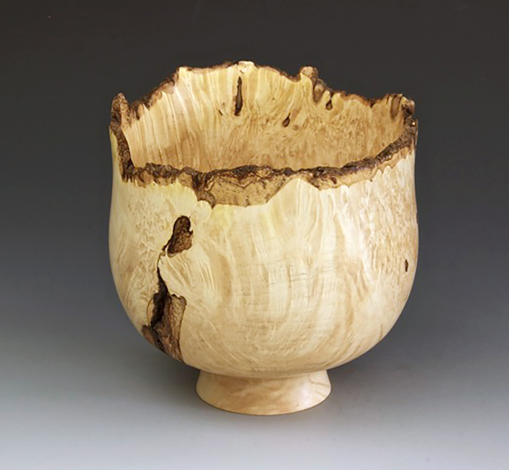 Jerry Kermode Wooden Bowl - Box Elder Natural Edge Calabash Bowl