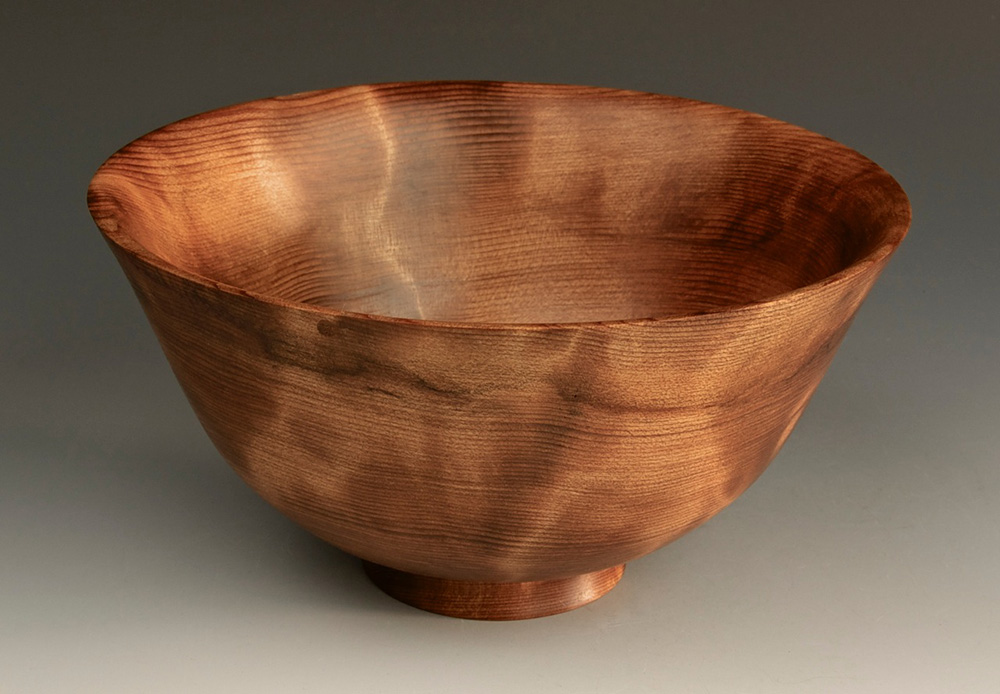 Jerry Kermode Wooden Bowl - Redwood Traditional Edge Bowl with Flame and Black Spalt Line
