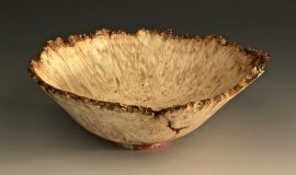 Jerry Kermode Wooden Bowl - Box Elder Natural Edge Bowl with Bark Rim, Inclusions, and Red Spalting