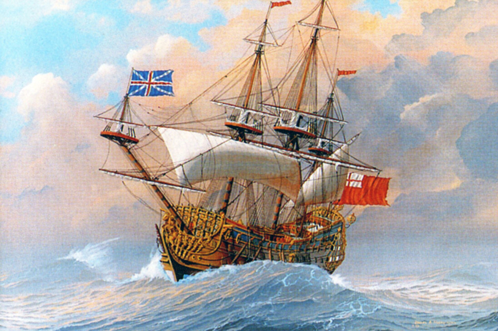 James Flood Limited Edition Print - HMS Britannia in a Gale