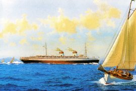 James Flood Limited Edition Print - SS Rex off the Coast of Italy