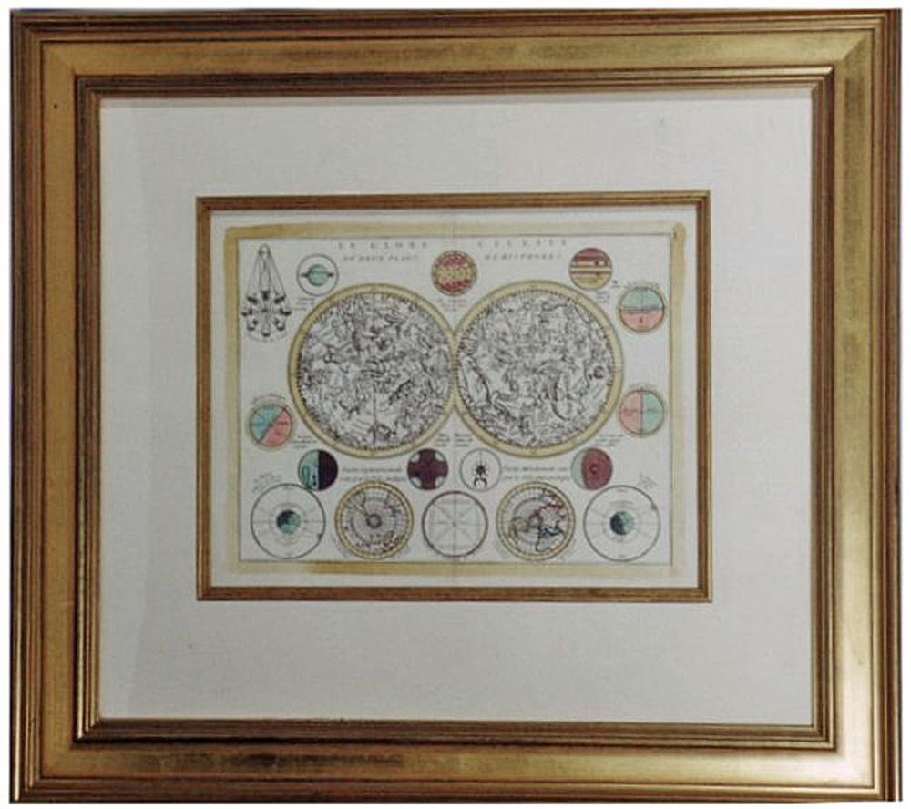 Antique Celestial Hemispheres Map c. 1760