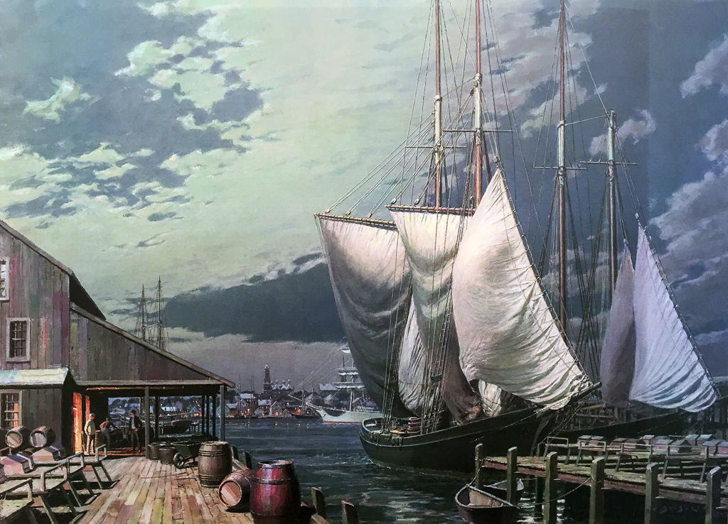 John Stobart - Gloucester: Drying Sails Under a Full Moon c. 1910