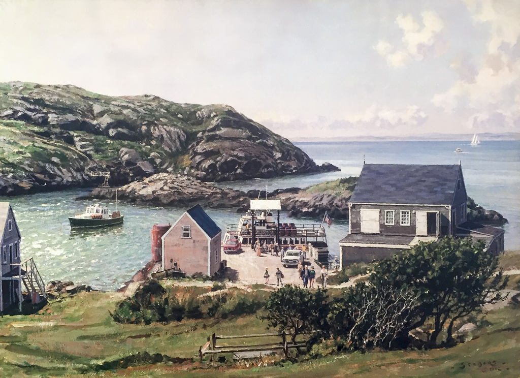 John Stobart - Monhegan: A View of the Landing from the Island Inn