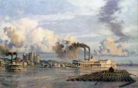 "John Stobart - Baton Rouge: The Anchor Line Steam Packet ""City of Baton Rouge"" Arriving in 1881"