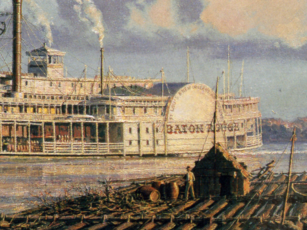 """John Stobart - Baton Rouge: The Anchor Line Steam Packet """"City of Baton Rouge"""" Arriving in 1881"""