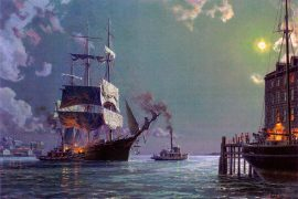 John Stobart - Boston: Departure, Securing the Towline c. 1885