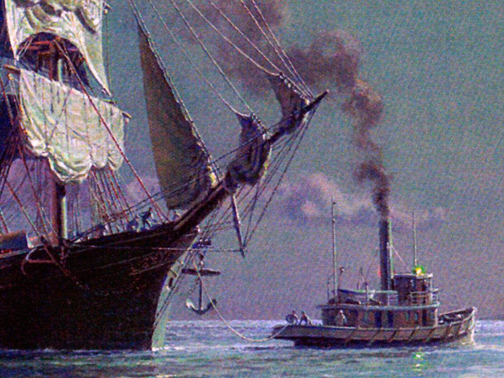 John Stobart - Boston: Departure, Securing the Towline c. 1885