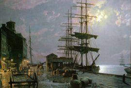 John Stobart - Boston: Long Wharf by Moonlight in 1865