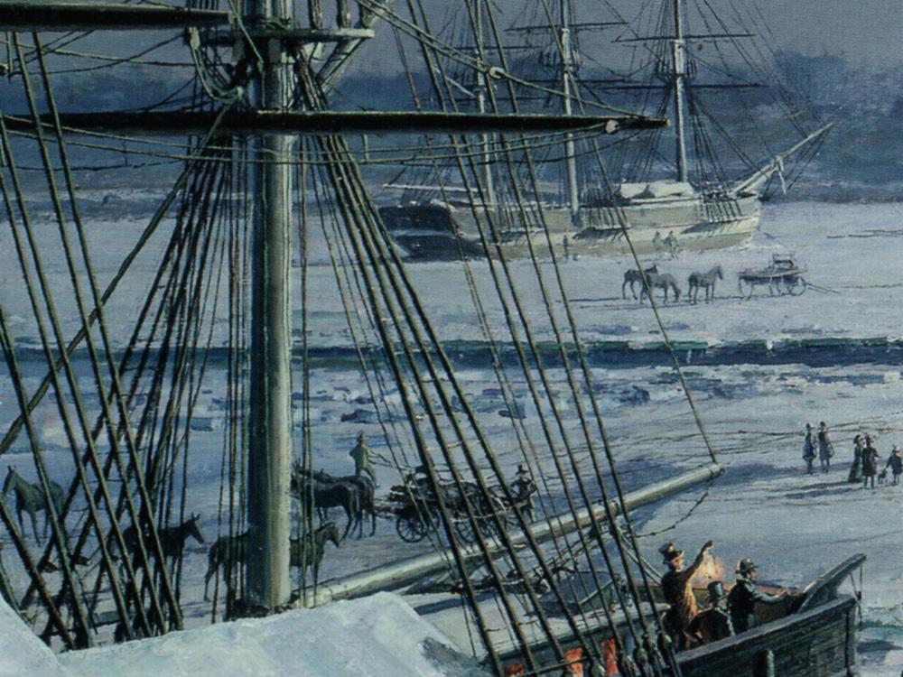 "John Stobart - Boston: R.M.S. ""Britannia"" Departing the Icebound Harbour"