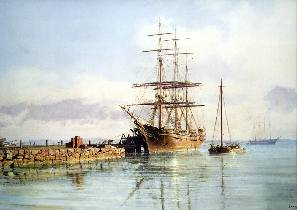 "John Stobart - Boston: The Bark ""W.B. Flint"" at an East Boston Wharf"
